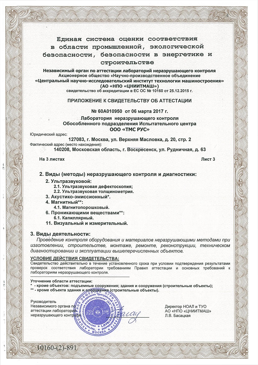 Сertificate of attestation