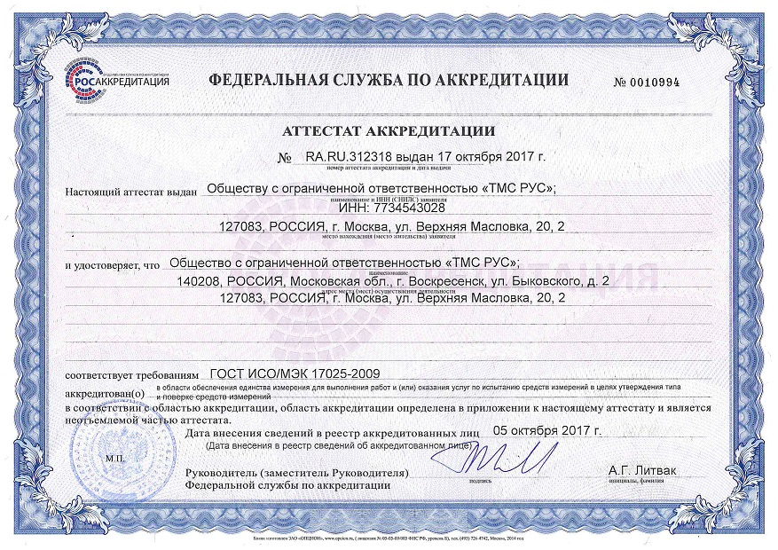 Accreditation certificate of Metrology